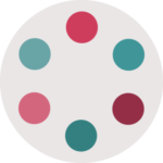 6 different colored pink and blue-green dots in a hexagon shape for THI logo