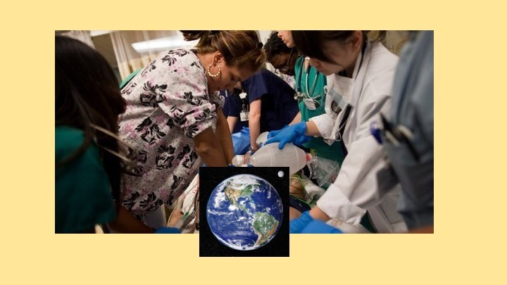 Picture of the planet earth juxtaposed over an image of female medical personnel work on a patient in the ICU