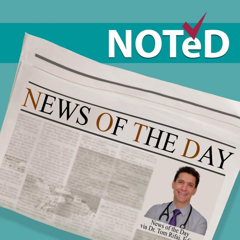 "Newspaper with ""News of the Day"" headline and pic of Dr Tom Rifai, acronym ""NOTeD"" above with a checkmark over the e, all in front of a Blue Background"