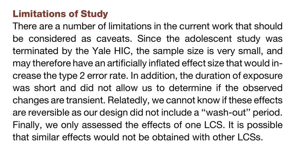 """Limitations of Study"" screenshot of the limitations listed by the authors of the study"