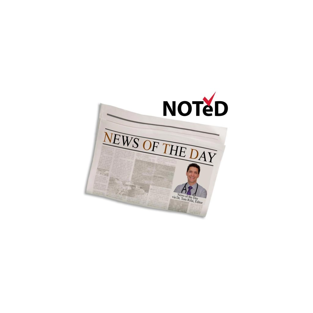 """Newspaper with headline, """"News of the Day,"""" and headshot of Dr. Tom Rifai, MD, FACP"""