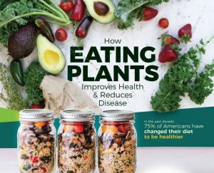 """3 Bell jars of fruits nuts and grains with """"How Eating Plants Improves Health and Reduces Disease"""" in background and images of various veggies: half avocadoes, radishes, eggplants, strawberries, leafy greens"""