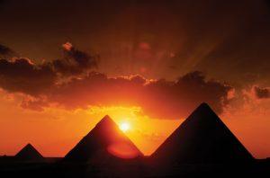 Sunset at the pyramids.