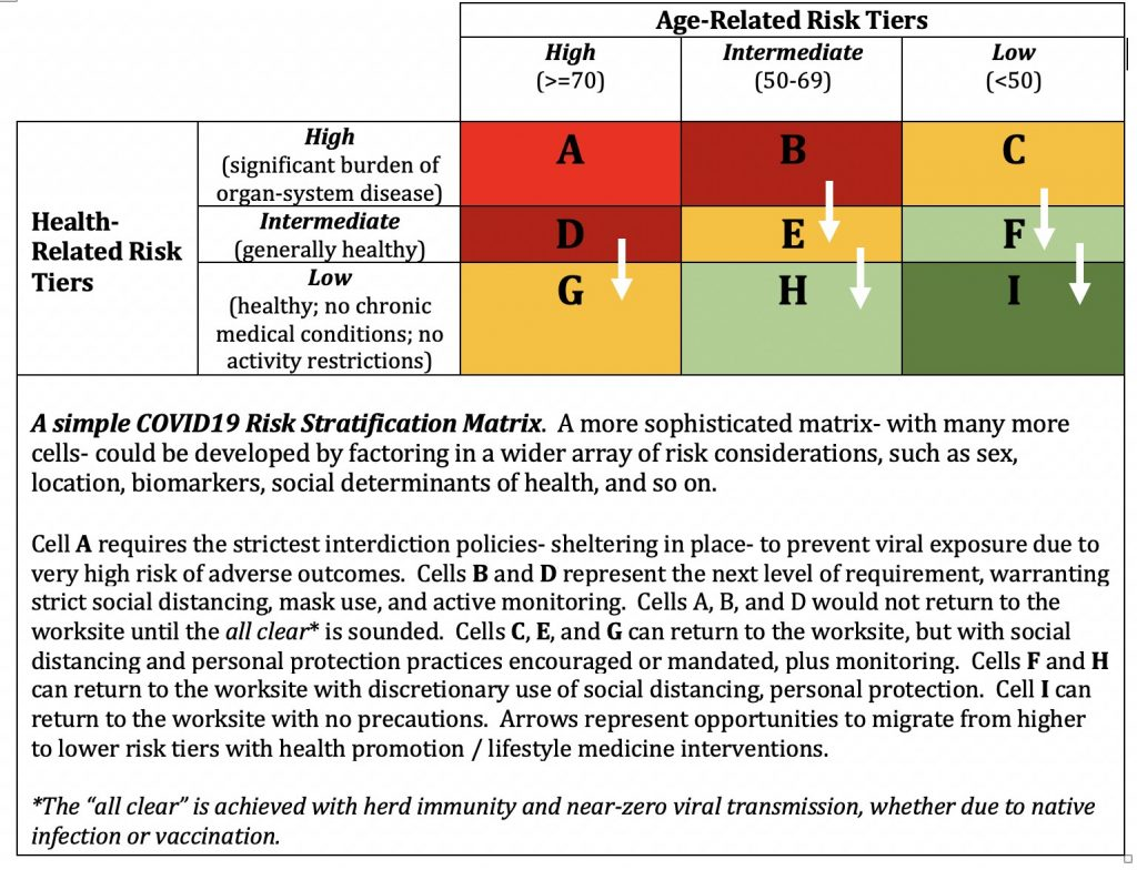 Figure 1: Table with Health-related risk tiers as rows and age-related risk tiers as columns.
