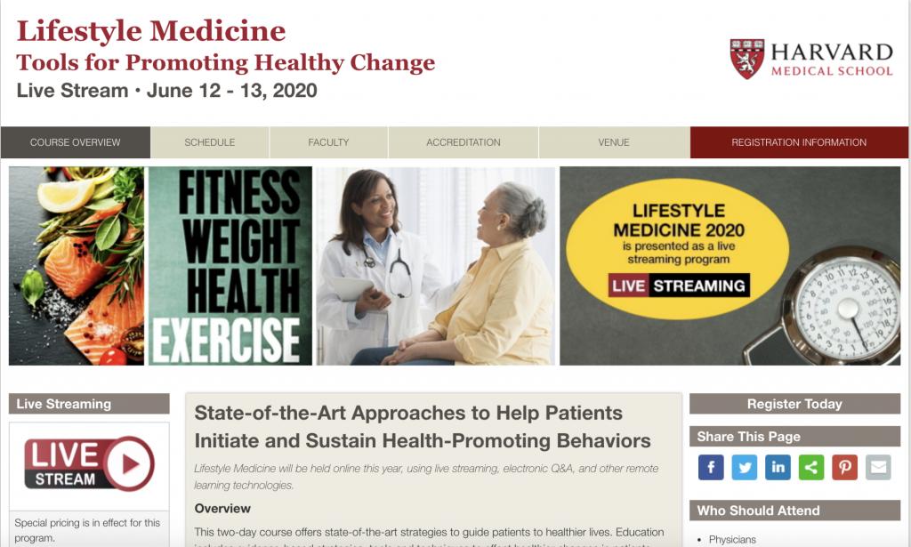 "Screenshot of Harvard University's ""Lifestyle Medicine"" symposium website page."