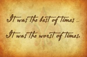 "It was the worst of times."" handwritten in cursive on it."