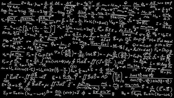 Blackboard covered with mathematical formulas.