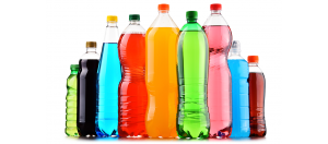 Generic bottles of different colored soft drinks with no labels on them, on a white background.
