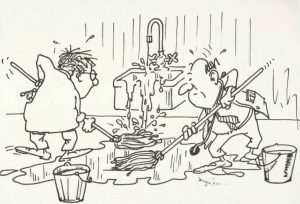 Brown pen and ink sketch with pale yellow background of 2 people frantically mopping a flooded floor while the sink faucet causing the flood is still running.