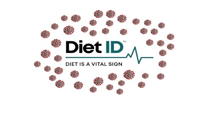 "Diet ID, ""Diet is a vital sign"" logo encircled in a couple dozen red covid molecules"