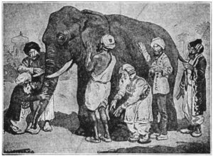"Black and white pen and ink etching of ""The Blind Men and the Elephant"" parable. 6 blind men feel various parts of the elephant."