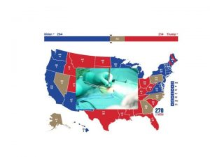 Map of USA with red and blue electoral colors and closeup of surgeon stitching up patient on top of the map.