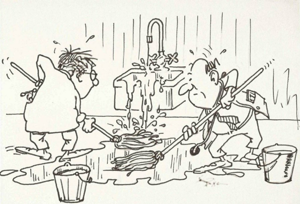 Monochromatic pen-and-ink sketch of 2 men mopping up spilled water while running water still flows over a sink behind them.