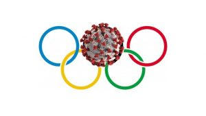 The 5 circles symbol of the olympics, with a Covid molecule substituted in the top center circle.