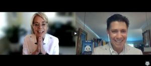 """Margaret """"Coach Meg"""" Moore on the left and Dr. Tom Rifai on the right on this Zoom call interview."""