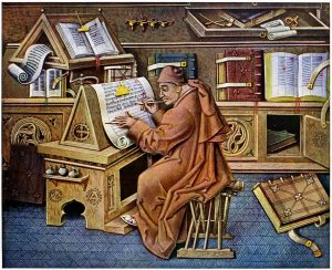 Medieval scientist pens his scrolls on and ancient vertical rise type desk.