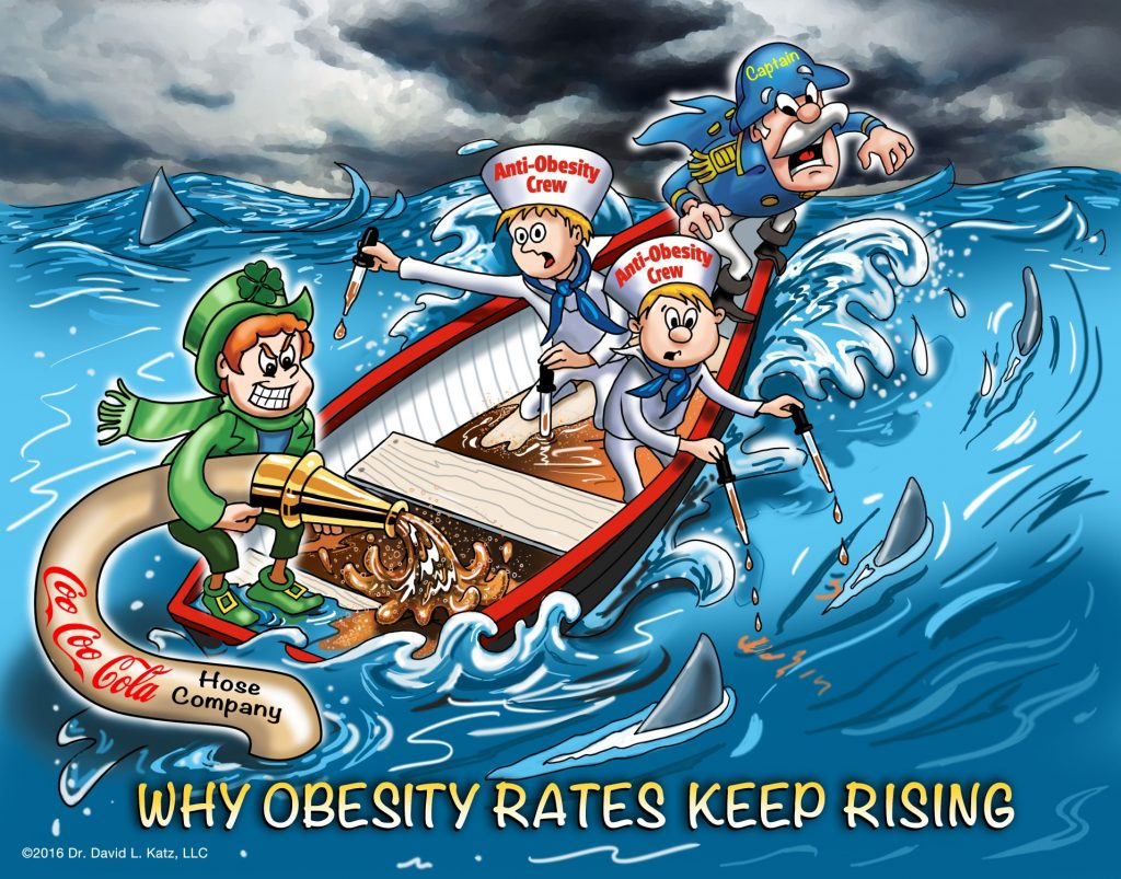 """Cartoon of """"anti-obesity crew"""" in a rowboat in a storm navigating a high wave with """"Cap'n Crunch"""" and """"Lucky Charms"""" figures trying to sink the boat. Caption at bottom says """"Why Obesity Rates Keep Rising."""""""