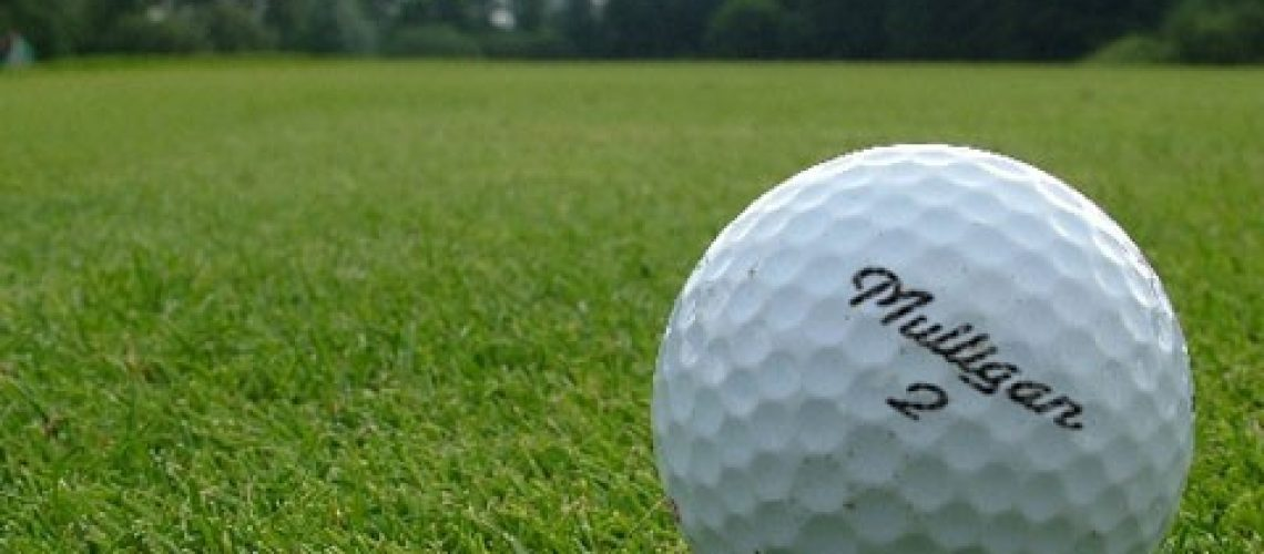 Closeup of a golf ball on a fairway with