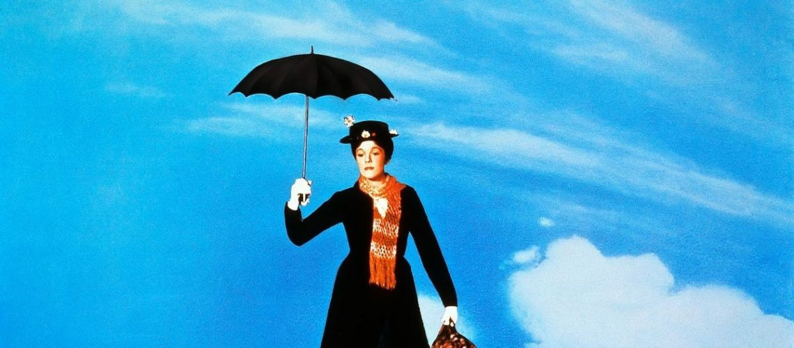 Mary Poppins with umbrella in right hand and suitcase in left hand flies gracefully in the sky.
