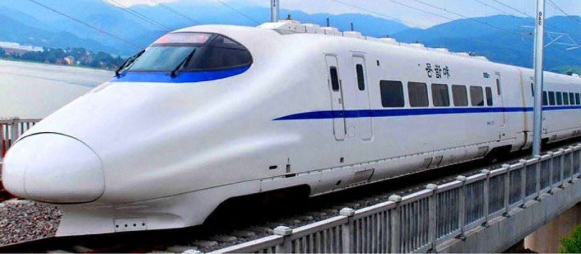Sleek white modern speed train