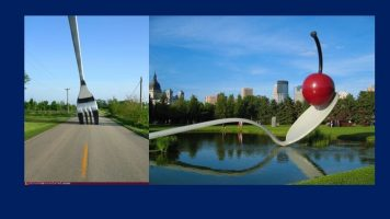 Left: a huge fork has been stuck into a road. Right: sculpture of a huge spoon holding a cherry
