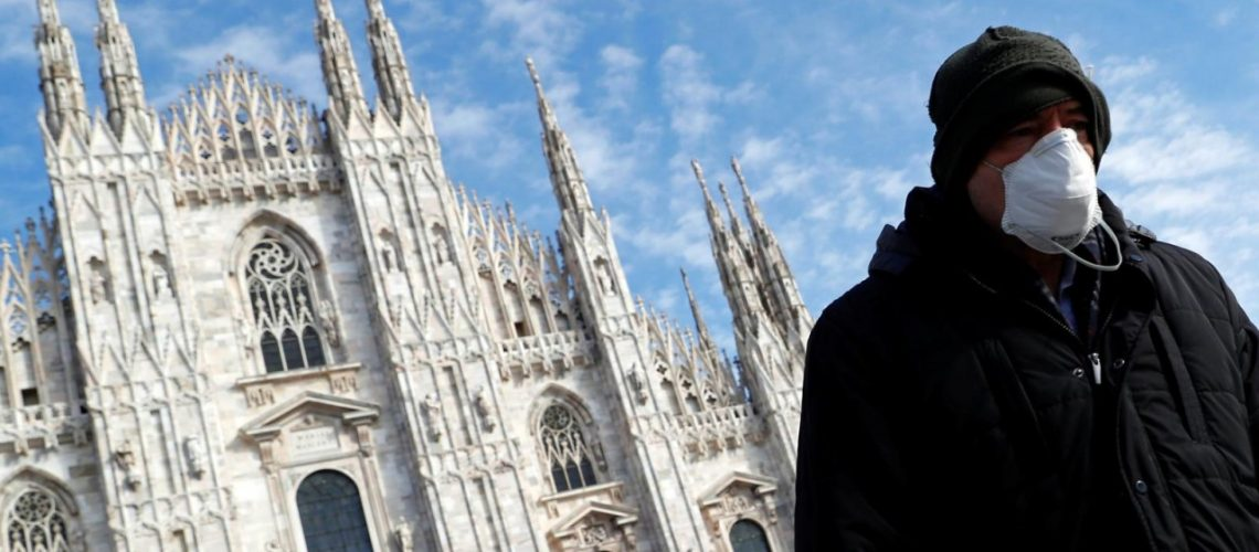 Man in heavy coat and face mask walks towards the right of the camera, in front of the Basilica in Rome.