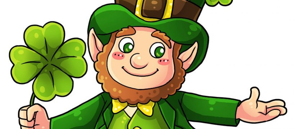 Cartoon leprechaun dressed in a green suit with brown belt and green top hat offers with outstretched hands a 4-leaf clover to the viewer.