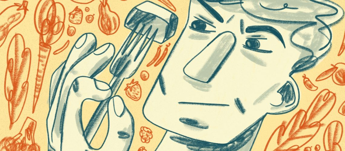 Cartoon of a man examining a forkful of food he's holding with his left hand