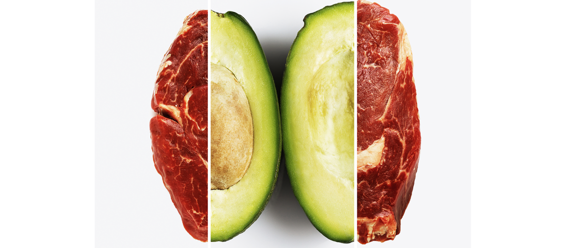 Slice of avocado and piece of beef on white background.