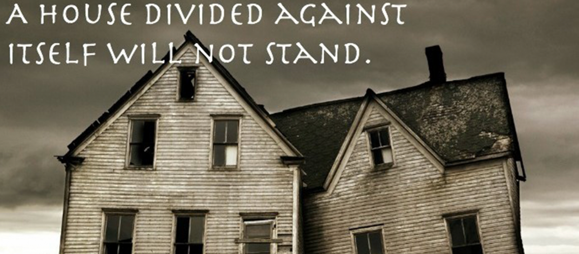 Decaying house with right side falling down, against a gloomy dark cloudy background. Above it in white font: