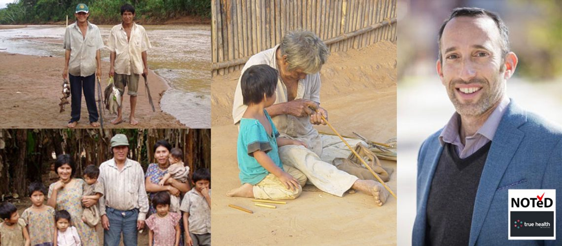 Collage of Tsimane peoples: Top left - 2 fishermen, bottom left a family of 10, Middle, a grandma weaves while granddaughter looks on, right - Michael Gurven headshot