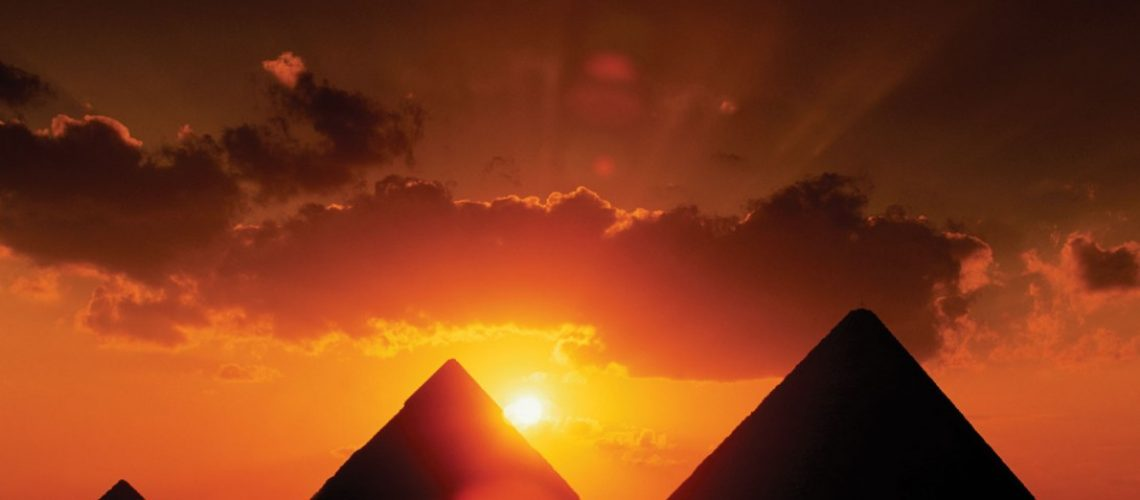 Sunset at the pyramids.