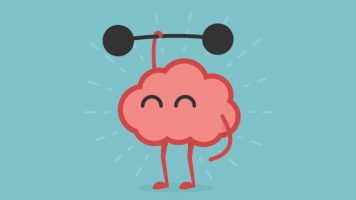 Cartoon of a pink brain lifting a black weight against a blue background