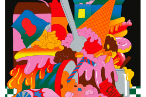 Colorful cartoon closeup image of icecream and junk food on a black and white checkered table.